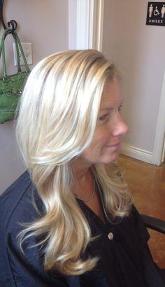 Blonde highlights and long layered haircut