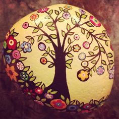 Hand painted rock...  Have to try this soon....