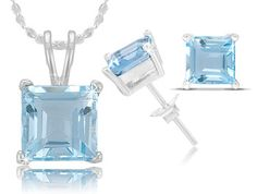 5 Carat Square Blue Topaz Pendant and Earrings Set in Sterling Silver