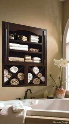 I like the idea of shallow cabinets sunken into the wall space. Bathroom ideas