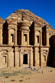The Monastery, Petra, Jordan - Situated between the Red Sea and the Dead Sea, this vast ancient city was quite literally carved into the dusky-pink rock face #travel #jordan #petra