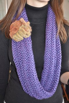 "Blue Violet Hand Knit Cowl ""Necklace"" - an infinity cowl scarf by My Mimo"