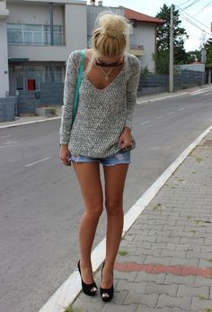 jean shorts, sweater, fashion, style, yves saint laurent, heel, outfit, denim shorts, shoe