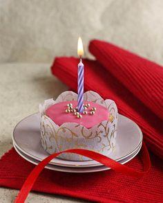 Pink Eggless Birthday Cupcake