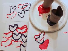 Love this Paper Roll Heart Stamp idea for Valentine's Day!