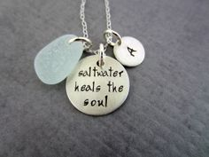 Saltwater Heals the Soul Hand stamped sterling by BeachCoveJewelry,