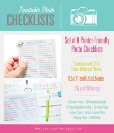 simple as that: Printer Friendly Photo Checklists