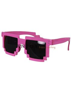 Retro Pixel 8 Bit Glasses Pixelated Style Square Sunglasses | eBay