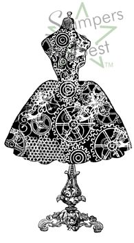 Dress Form Steampunk Gears Rubber Stamp