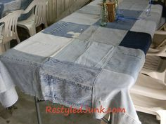 How many of us have jeans galore? I know I do.Here is a great way to utilize the jeans and get your space back...A blue jean tablecloth!    The blog here has all of the directions and they're easy to follow. Now, this is one you can change up and make it your own.    I have a quilt made out of old blue jeans and I've had it for years! There isn't batting in it but the person who made it for me added a red flannel back to it...beautiful and very warm!    As always...Let Your Imagination Run Wild!