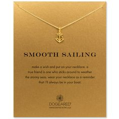 """""""I'll always be in your boat""""  smooth sailing anchor heart necklace, gold dipped #dogeared #sisters #besties #BFF #friendship #anchor"""