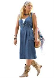 Plus Size Sleeveless Denim Dress image