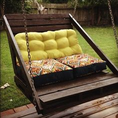 Porch swing made from two pallets.