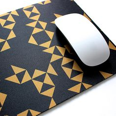 Black and Gold Geometric Soft Fabric Top Mouse Pad with heavy duty natural rubber backing. via Etsy
