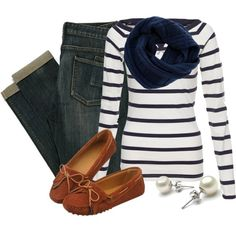 Navy Blue on White Striped Shirt, Navy Blue Infiniti Scarf, Cuffed Medium Washed Jeans, & Moccasins
