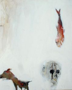 Acrylic 2011 painting &;natura incognita series: dog-fish-skull &; more