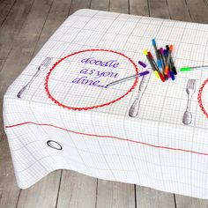 Fabulous!!!! Doodle Tablecloth!!  Washes off when done!!    NEED!!!!