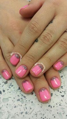 Pink, half moon glitter nails