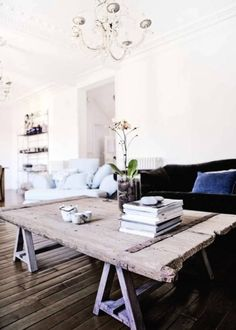 Love chandelier & wood table