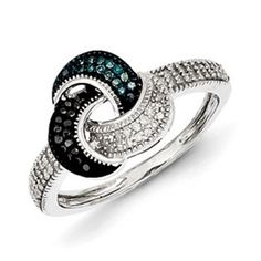 1/4 Carat Blue Black White Diamond Ring In Sterling Silver Available Exclusively at Gemologica.com