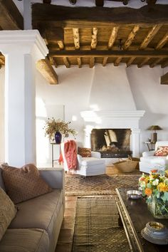 interior, living rooms, exposed beams, fireplac, white walls, hous, wood ceilings, spanish style, wood beams
