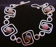 Rhodonite Geometric Squares Bracelet by ShazzabethCreations, $75.00