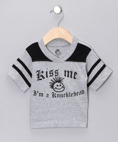Take a look at this Black Football 'Kiss Me' Tee - Toddler & Boys by Knuckleheads & Hula Mula on #zulily today!