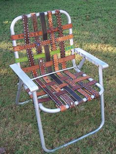 Vintage Aluminum Lawn Chair Re-Webbed with Western Belts ***This only look cool who in the hell wants to sit their 100 lb + ass on leather straps only to have huge square prints and a stinging sensation when they finally stand up?!?!?!  garden chairs, lawn, frames, seat, patio, chair makeover, old chairs, folding chairs, leather belts