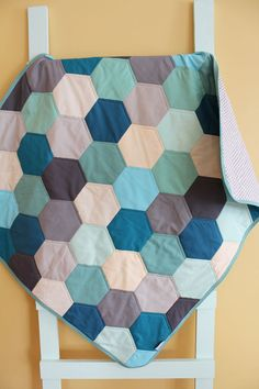 Baby QUILT modern hipster by PETUNIAS - heirloom vintge style hexagon blanket nursery decor vintage newborn shower gift room crib bedding