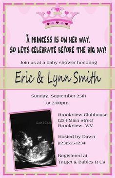 DIY PRINTABLE - Our Little Princess Baby Ultrasound Shower Invitations $12.00