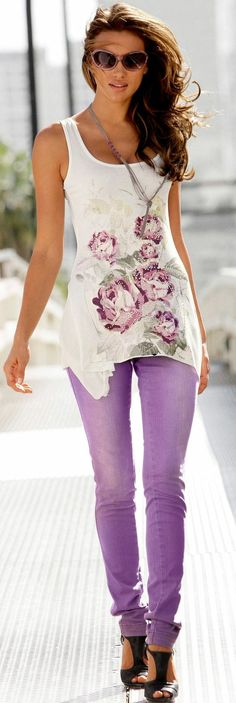 Muted purple pants, floral tank and long muted silver necklace
