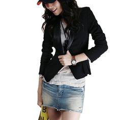 Allegra K Lady Long Sleeves Single Button Closure Blazer Black XS