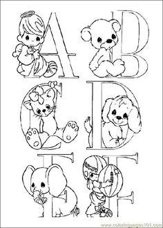Precious Moments Alphabet - Letters A, B, C, D, E and F