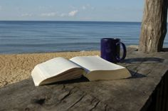 a book and the ocean