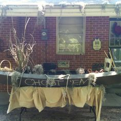 """Swamp People"" themed party with food in pirogue."