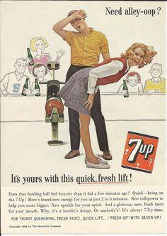 7-UP Bowling Alley 1963 Vintage Ad Illustration Seven Up Cartoon