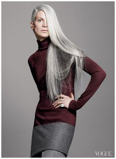 Kristen McMenamy, super long silver grey hair, started modelling in 1984 aged 19. {Photographed by David Sims for Vogue}