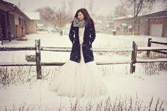 pretty rural photo in winter with bride