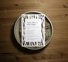 bamboo papercut wedding invite