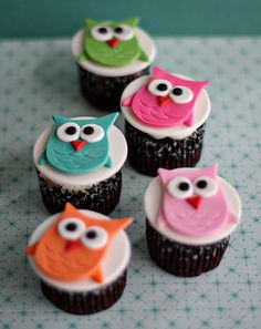 Owl Fondant Cupcake Toppers so cute!!!