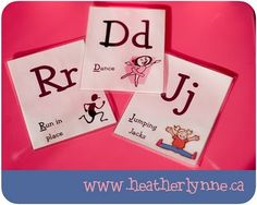 "Alphabet Movement Cards: the ones pictured are found by following the link ""alphabet movement cards"" and clicking on ""Set 3"""