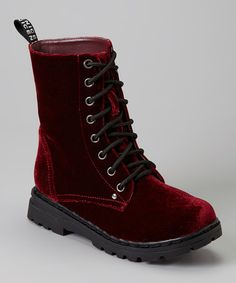 Burgundy Velvet Boot by Carrini