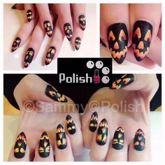 Matte black pumpkin nails by Sammy Grant #nails #halloweennails