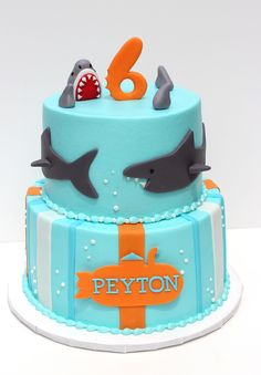 Sharks! - Buttercream with fondant details.  Bottom tier inspired by invitation and Tastefully-Treated Artistic Cakes.  Birthday boy requested teeth! idea, cotton candy, birthday boys, birthdays, shark parti, shark party, sharks, shark cake, birthday cakes