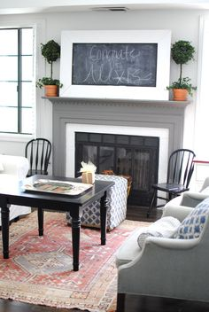 vintage rug, fireplace and small windsor chairs LOVE THE COLORS