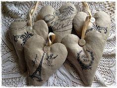 fabric heart, linen