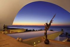 An angel sculpture in the open air lobby at Secrets Marquis Los Cabos