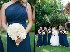 Navy, long bridesmaids dresses and blush pink wedding details - white bouquets