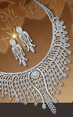 Art Deco Platinum & Diamond Earrings & Necklace