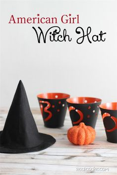 Free American Girl Doll clothes pattern to make a cute and easy witch hat-- even dolls need costumes for halloween!